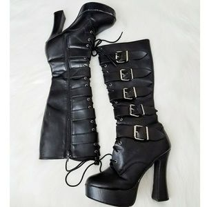 Black Knee High Faux Leather Buckle Boots Heeled 9